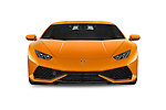 Car photography straight front view of a 2015 Lamborghini Huracan LP 6104 2 Door Coupe Front View