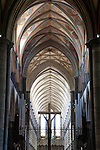 Cross and Nave of Salisbury Cathedral, Salisbury, England, UK