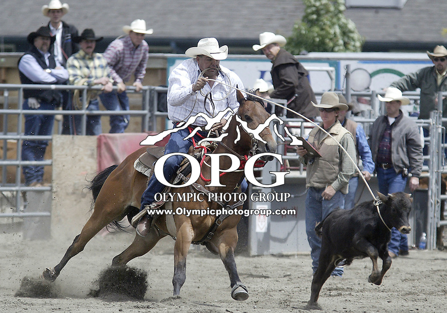 24 June 2007:   Casey Green from Warm Springs scored a 12.5 in the Tie Down Roping competition at the Kitsap County Thunderbird Benefit Pro Rodeo in Bremerton, Washington.