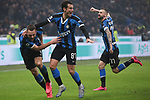 Stefan de Vrij of Inter celebrates with team mates Antonio Candreva and Marcelo Brozovic after scoring to give the side a 3-2 lead during the Serie A match at Giuseppe Meazza, Milan. Picture date: 9th February 2020. Picture credit should read: Jonathan Moscrop/Sportimage