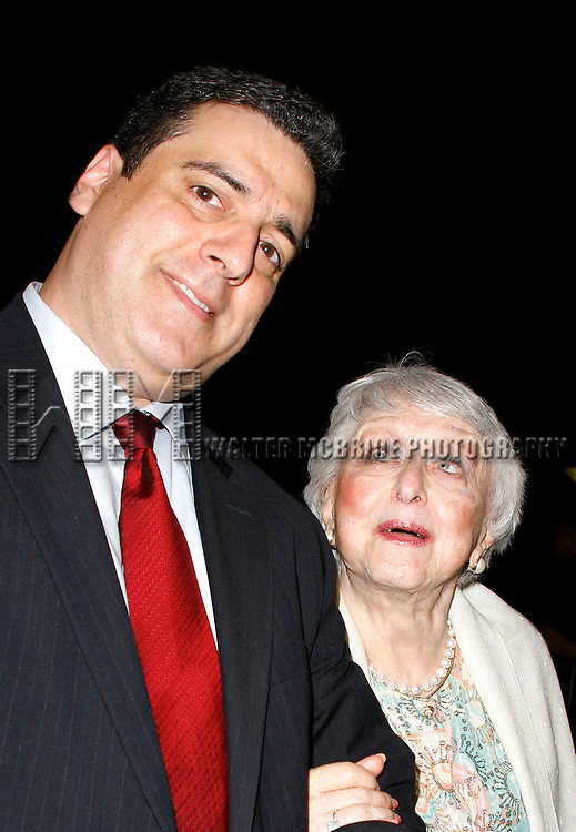Celeste Holm & husband Frank Basile.arriving for the Opening Night Performance of Manhattan Theatre Club's MAURITIUS at the Biltmore Theatre in New York City..October 4, 2007.
