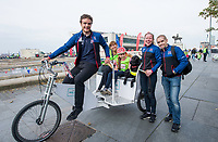 Picture by Allan McKenzie/SWpix.com - 24/09/2017 - Cycling - HSBC UK City Ride Liverpool - Albert Dock, Liverpool, England - Steven Burke with Lora & Neil Fachie and passengers on the rickshaw.