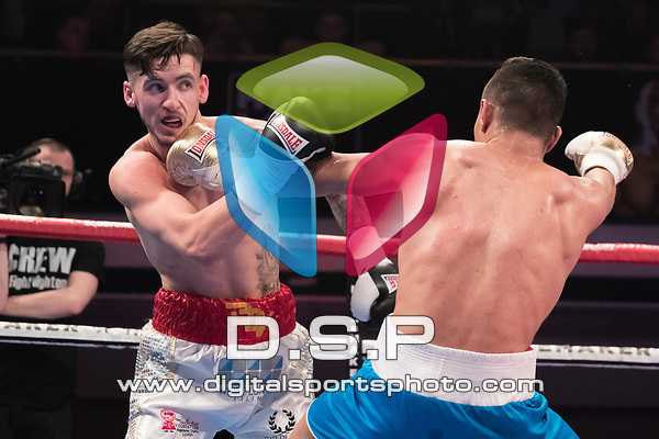 Dan Dan Keenan vs Ilian Markov 4 x 3 Super Welterweight Contest During Hayemaker Ringstar: Double Header Infinitum Fight Night (C5). Photo by: Simon Downing.<br /> <br /> Saturday March 17th 2018 - York Hall, Bethnal Green, London, United Kingdom.