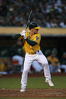OAKLAND, CA - SEPTEMBER 22:  Matt Chapman #26 of the Oakland Athletics bats against the Minnesota Twins during the game at the Oakland Coliseum on Saturday, September 22, 2018 in Oakland, California. (Photo by Brad Mangin)