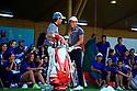 Goncalo Pinto (POR) and Joel Stalter (FRA) entertain the volunteers, European Challenge Tour, Azerbaijan Golf Challenge Open 2014, Azerbaijan National Golf Club, Quba, Azerbaijan. (Picture Credit / Phil Inglis)