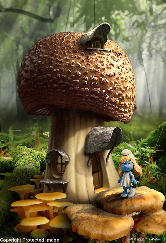 An early Smurf house concept. We weren't sure how naturalistic to go with the village at this point….