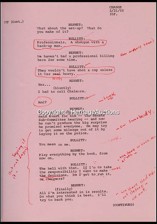 BNPS.co.uk (01202 558833)<br /> Pic: HeritageAuctions/BNPS<br /> <br /> Steve McQueen's Bullitt script sold for &pound;43,551.<br /> <br /> The script belonging to actor Steve McQueen for The Great Escape which is covered in his suggestions for scenes and his character has sold for ten times its estimate.<br /> <br /> McQueen's personal script for the classic 1963 war film was estimated to fetch &pound;4,000 at auction but sold for a whopping &pound;40,325 ($50,000).<br /> <br /> It was one of 18 McQueen scripts being sold by a collector who knew McQueen at Heritage Auctions in America. The whole collection had an estimate of &pound;50,000 but smashed the expected price, making a total of &pound;203,343 ($252,125).