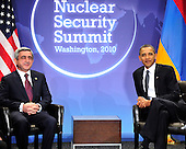 United States President Barack Obama holds bilateral meeting with President Serzh Sargsian of Armenia on the sidelines of the Nuclear Security Summit at the Washington Convention Center, Monday, April 12, 2010 in Washington, DC. .Credit: Ron Sachs / Pool via CNP