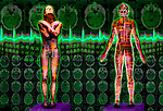 metaphoric composite photo illustration panorama with icons of health including female figures EKG and brain scans