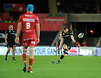 Ospreys' Dan Biggar kicks a penalty <br /> <br /> Photographer Ashley Crowden/CameraSport<br /> <br /> Guinness Pro14 Round 6 - Ospreys v Scarlets - Saturday 7th October 2017 - Liberty Stadium - Swansea<br /> <br /> World Copyright &copy; 2017 CameraSport. All rights reserved. 43 Linden Ave. Countesthorpe. Leicester. England. LE8 5PG - Tel: +44 (0) 116 277 4147 - admin@camerasport.com - www.camerasport.com