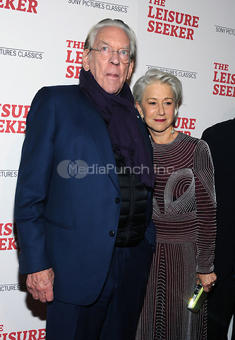 NEW YORK, NY - JANUARY 11:  Donald Sutherland and Helen Mirren at The Leisure Seeker New York Screening at AMC Loews Lincoln Square in New York City on January 11, 2018. Credit: John Palmer/MediaPunch