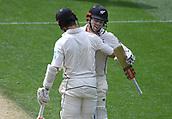 23rd March 2018, Eden Park, Auckland, New Zealand; International Test Cricket, New Zealand versus England, day 2;  Henry Nicholls hugs Kane Williamson after Williamson's century