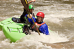 April 30, 2012. Charlotte, NC.. Erik Weihenmayer takes a spill and goes under after heading through a rapid.. Erik Weihenmayer, who has been completely blind since age 13, is training at the United States National White Water Center in an attempt to kayak through the Grand Canyon. Weihenmayer is an accomplished outdoorsman who has climbed the 7 Summits, and is the only blind person to climb Mount Everest.