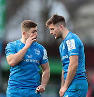 12th January 2020; RDS Arena, Dublin, Leinster, Ireland; Heineken Champions Champions Cup Rugby, Leinster versus Lyon Olympique Universitaire; Jordan Larmour (Leinster) chats with Ross Byrne (Leinster) during a break in play - Editorial Use