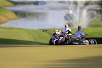 Justin Rose (ENG) chips onto the 18th green at the end of Sunday's Final Round of the 2018 Turkish Airlines Open hosted by Regnum Carya Golf &amp; Spa Resort, Antalya, Turkey. 4th November 2018.<br /> Picture: Eoin Clarke | Golffile<br /> <br /> <br /> All photos usage must carry mandatory copyright credit (&copy; Golffile | Eoin Clarke)
