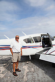 EXUMA, Bahamas. A pilot and his plane. He takes passengers from Nassau to the Exuma Islands.