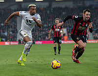Wolverhampton Wanderers' Adama Traore (left) under pressure from Bournemouth's Adam Smith (right) <br /> <br /> Photographer David Horton/CameraSport<br /> <br /> The Premier League - Bournemouth v Wolverhampton Wanderers - Saturday 23 February 2019 - Vitality Stadium - Bournemouth<br /> <br /> World Copyright © 2019 CameraSport. All rights reserved. 43 Linden Ave. Countesthorpe. Leicester. England. LE8 5PG - Tel: +44 (0) 116 277 4147 - admin@camerasport.com - www.camerasport.com