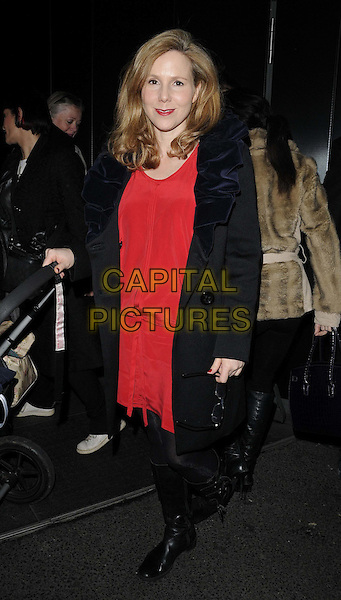 Sally Phillips.The 'Animal Charm' special screening, W hotel Leicester Square, Wardour St., London, England..January 31st, 2012.full length red dress black coat bag purse boots.CAP/CAN.©Can Nguyen/Capital Pictures.