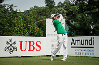 Lu Wei Chih of Taiwan in act at the third round of the Hong Kong Open golf tournament in Fanling Golf Club, Hong Kong,  24 Oct., 2015