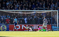 Shola Ameobi of Notts County scores during the Sky Bet League 2 match between Wycombe Wanderers and Notts County at Adams Park, High Wycombe, England on the 25th March 2017. Photo by Liam McAvoy.