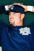 Kevin Barker of the Milwaukee Brewers before a 1999 Major League Baseball Spring Training game in Phoenix, Arizona. (Larry Goren/Four Seam Images)