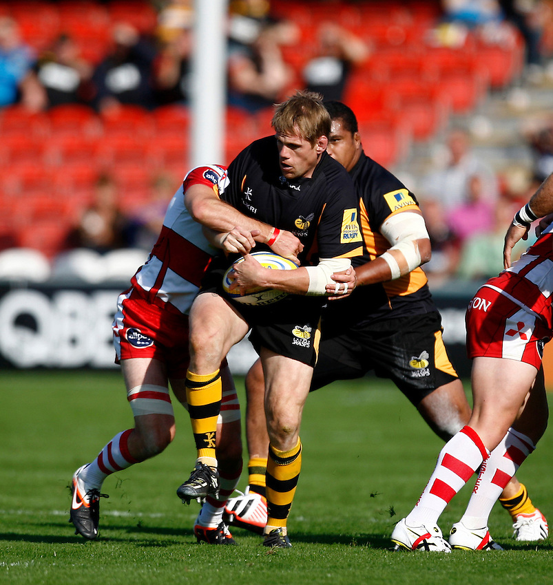 Photo: Richard Lane/Richard Lane Photography. Gloucester Rugby v London Wasps. Aviva Premiership. 22/09/2012. Wasps' T Rhys Thomas attacks.