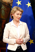 Ursula von der Leyen; newly elected President of the European Commission<br /> Rome August 2nd 2019. The Italian Prime Minister  meets the newly elected President of the European Commission.<br /> Foto Samantha Zucchi Insidefoto