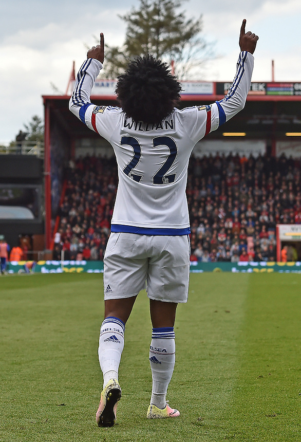 Chelsea's Willian celebrates scoring his sides third goal<br /> <br /> Bournemouth 1 - 4 Chelsea 4<br /> <br /> Photographer David Horton/CameraSport<br /> <br /> Football - Barclays Premiership - Bournemouth v Chelsea - Saturday 23rd April 2016 - Vitality Stadium - Bournemouth<br /> <br /> &copy; CameraSport - 43 Linden Ave. Countesthorpe. Leicester. England. LE8 5PG - Tel: +44 (0) 116 277 4147 - admin@camerasport.com - www.camerasport.com