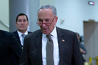 United States Senate Minority Leader Chuck Schumer (Democrat of New York) walks through the Senate Subway to attend a closed door briefing in the Senate SCIF with United States Secretary of State Mike Pompeo, United States Secretary of Defense Dr. Mark T. Esper, Gina Haspel, Director, Central Intelligence Agency (CIA), United States Army General Mark A. Milley, Chairman of the Joint Chiefs of Staff, and Acting Director of Intelligence Joseph Maguire at the United States Capitol in Washington D.C., U.S., on Wednesday, January 8, 2020.  97 senators were said to have attended the briefing, which discussed the U.S. drone strike on Iranian military leader Qasem Soleimani and the issue of Congressional authorization for such acts.<br /> <br /> Credit: Stefani Reynolds / CNP/AdMedia