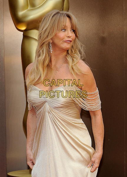 HOLLYWOOD, CA - MARCH 2: Goldie Hawn arriving to the 2014 Oscars at the Hollywood and Highland Center in Hollywood, California. March 2, 2014.  <br /> CAP/MPI/mpi99<br /> &copy;mpi99/MediaPunch/Capital Pictures