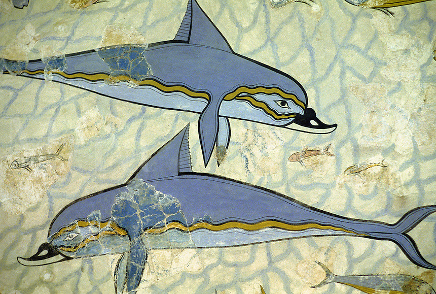 Dolphin fresco from the Palace ruins at Knossos. Crete, Greece