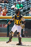 Luis Martinez (20) of the Salt Lake Bees on defense against the Fresno Grizzlies at Smith's Ballpark on May 26, 2014 in Salt Lake City, Utah.  (Stephen Smith/Four Seam Images)