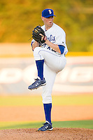 Relief pitcher Justin Mazur #44 of the Burlington Royals in action against the Kernersville Bulldogs in an exhibition game at Burlington Athletic Stadium June20, 2010, in Burlington, North Carolina.  Photo by Brian Westerholt / Four Seam Images