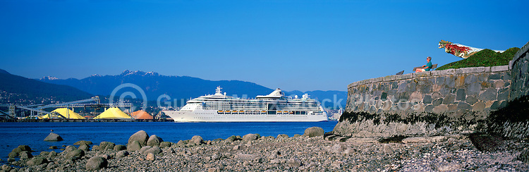 Radiance of the Seas (Royal Caribbean) Cruise Ship departing Port of Vancouver Harbour past Stanley Park Seawall and North Vancouver, BC, British Columbia, Canada, en route to Alaska - Grouse Mountain beyond, Panoramic View (Model Released)