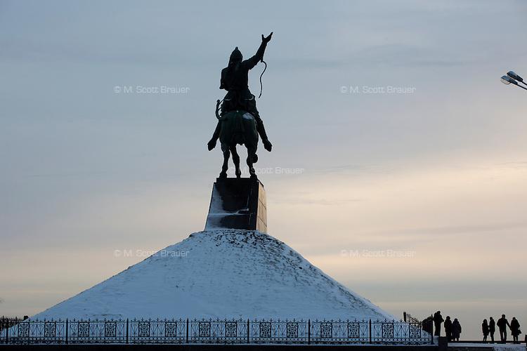 A monument to Bashkir national hero Salavat Yulayev stands above Ufa, Bashkortostan, Russia.