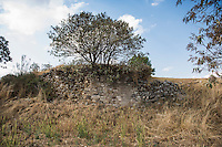 "A retaining wall in Sector C which includes Plaza 6 also known as ""El Fuerte"". Archeological site Tepeticpac, Tlaxcala, Mexico"