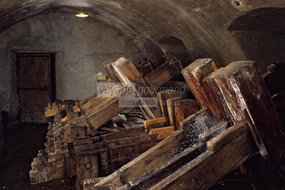 Europe/France/Auverne/63/Puy-de-Dôme/Env. d'Ambert/Moulin Richard-de-Bas: Musée historique du papier - Fabrication artisanale du papier - Broyage chiffons // Europe, France, Auverne, Puy-de-Dôme, Env. d'Ambert: Richard de Bas paper mill and museum