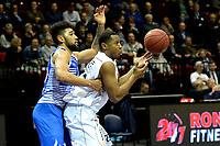 GRONINGEN - Basketbal, Donar - Landstede Zwolle , Martiniplaza,  halve finale beker, seizoen 2017-2018, 13-02-2018,  Donar speler Bradford Burgess in duel met Landstede speler Franko House