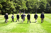 Camp David, MD - August 18, 2006 -- United States President George W. Bush and his economic team depart a press availability at Camp David, Maryland, Friday, August 18, 2006.<br /> Credit: Ron Sachs / Pool via CNP