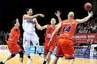 GRONINGEN - Basketbal, Donar - New Heroes, Martiniplaza,  Dutch Basketball League, seizoen 2017-2018, 03-12-2017,  Donar speler Arvin Slagter wint duel van Den Bosch speler Kees Akerboom en Den Bosch speler Nick Oudendag