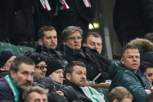 26.02.2015. Warsaw, Poland. Europa League football. Legia Warsaw versus Ajax.  Adam Nawalka  in the stands