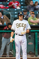 Josh Rutledge (8) of the Salt Lake Bees at bat against the Sacramento River Cats in Pacific Coast League action at Smith's Ballpark on April 17, 2015 in Salt Lake City, Utah.  (Stephen Smith/Four Seam Images)