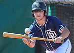 Carson City native Colby Blueberg takes bunting practice with the San Diego Padres during Spring Training in Peoria, Ariz., on Wednesday, March 16, 2016. Blueberg, a right-hander, was named minor league reliever of the year for the Padres' organization after leading the Fort Wayne TinCaps in saves.<br />Photo by Cathleen Allison/Nevada Photo Source