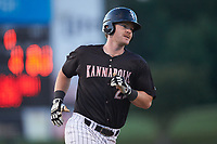 Alex Destino (23) of the Kannapolis Intimidators rounds third base after hitting a home run against the Augusta GreenJackets at Kannapolis Intimidators Stadium on June 21, 2019 in Kannapolis, North Carolina. The Intimidators defeated the GreenJackets 6-1. (Brian Westerholt/Four Seam Images)