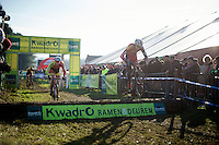 Michael Vanthourenhout (BEL/Sunweb-Napoleon Games) bunnyhops the tree trunks ahead of Laurens Sweeck (BEL/Corendon-Kwadro)<br /> <br /> GP Sven Nys 2015