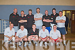 COMBINED: Two of the teams who were playing in the Johnnie Wall Classic Basketball in Cumann Iosaef on Friday Front l-r: Con O'Sullivan, John Quirke, Joseph O'Callaghan, Gerry Barry and Darren O'Sullivan. Back l-r; John Joe Sheehy, Tim O'Brien, Kevin Cunningham, Graham Spring, Seamus O'Mahony, Mark Sheehy and Charles O'Sullivan..
