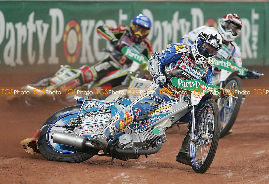 Heat 10 - Rune Holte (White) leads Bjarne Pedersen (Red) and Leigh Adams (Blue) - German Speedway Grand Prix at the Veltins Arena, Gelsenkirchen - 13/10/07 - MANDATORY CREDIT: Rob Newell/TGSPHOTO