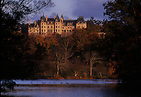 Biltmore Estate reflected in lagoon.<br /> In the late 1800s, George W. Vanderbilt sought the advice of Frederick Law Olmsted, the country's preeminent landscape designer, to help him with an appropriate design to complement the French Renaissance-style château he was building in the Blue Ridge Mountains. The resulting Biltmore Estate is a masterpiece and enjoyed by nearly one million visitors each year.