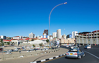 Windhoek Namibia Africa modern skyline with skyscrapers and downtown a clean Capitol city from highway