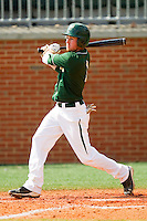 Shane Brown #1 of the Charlotte 49ers follows through on his swing against the Missouri Tigers at Robert and Mariam Hayes Stadium on February 27, 2011 in Charlotte, North Carolina.  Photo by Brian Westerholt / Four Seam Images